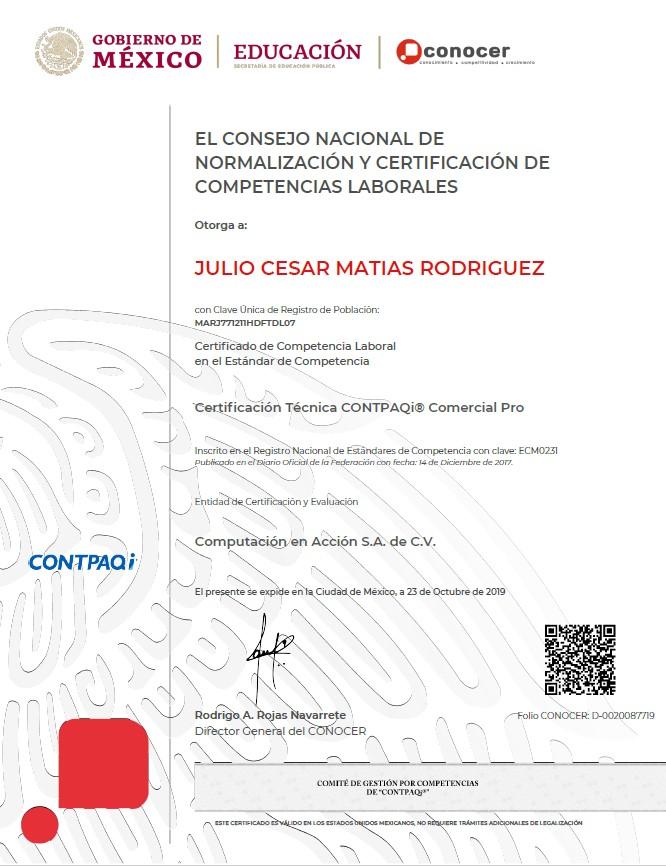 Certificación Técnica CONTPAQi Comercial Pro