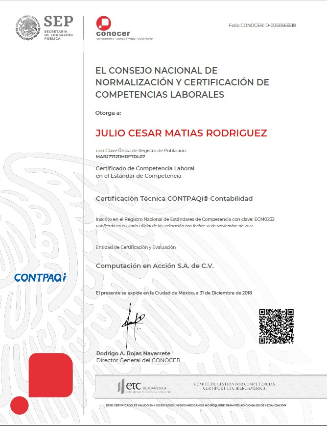 Certificación Técnica CONTPAQi Contabilidad
