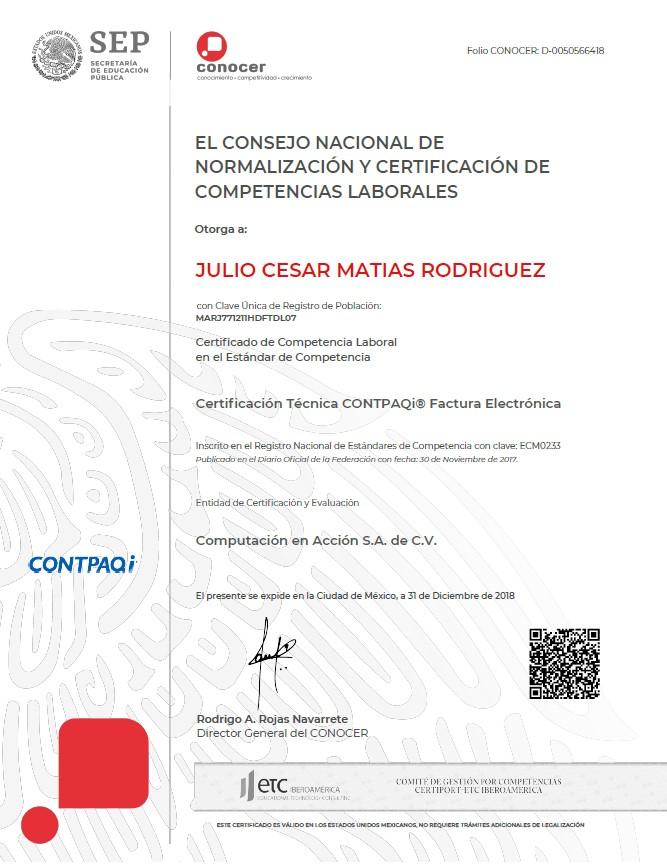 Certificación Técnica CONTPAQi Factura Electrónica