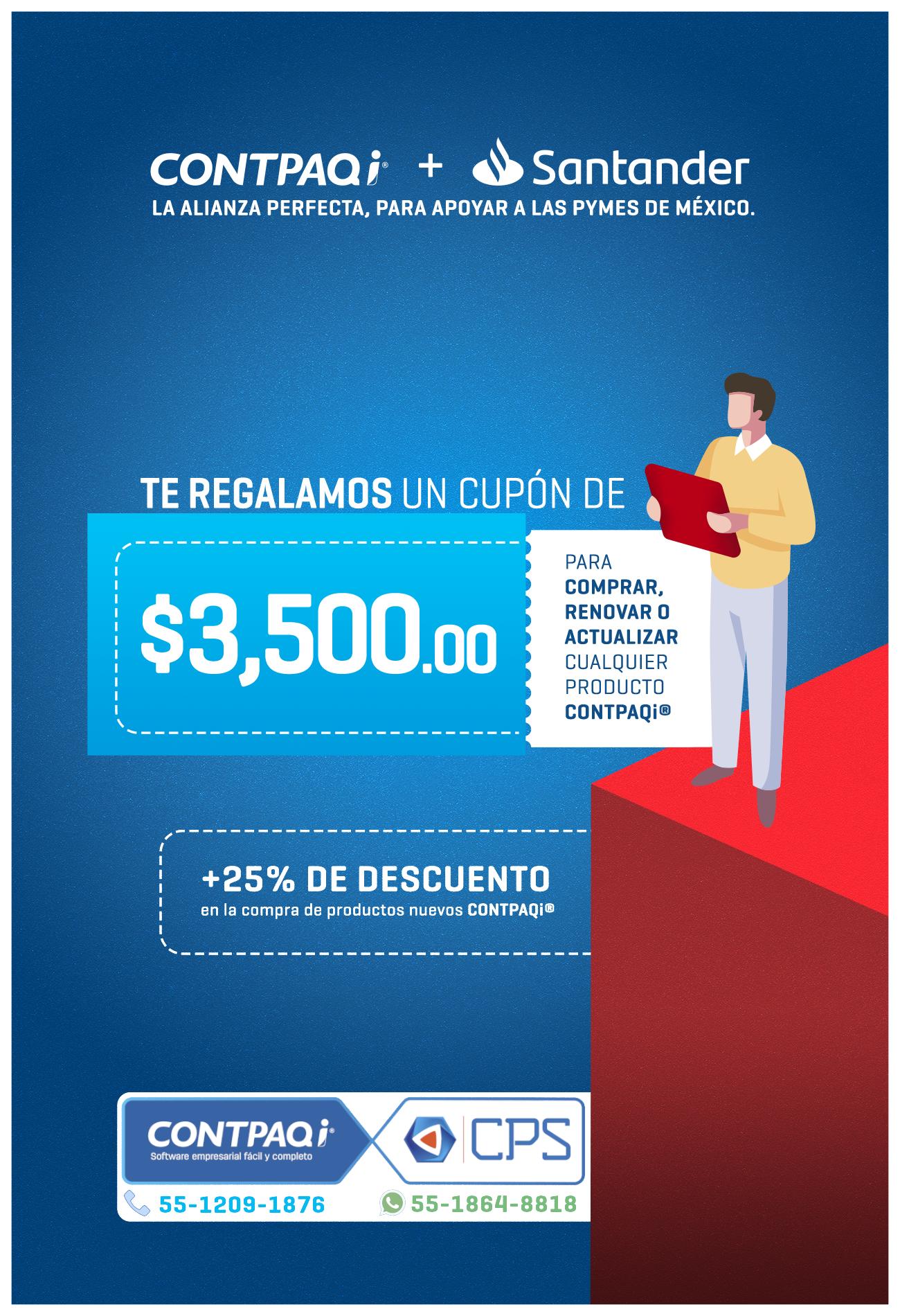 Obtén un cupón de $3,500.00 pesos en tus sistemas CONTPAQi